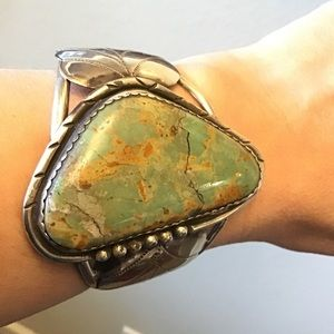 Vintage Turquoise Native Navajo 925 Bracelet cuff